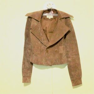 Vintage genuine 100% leather suede leather cropped